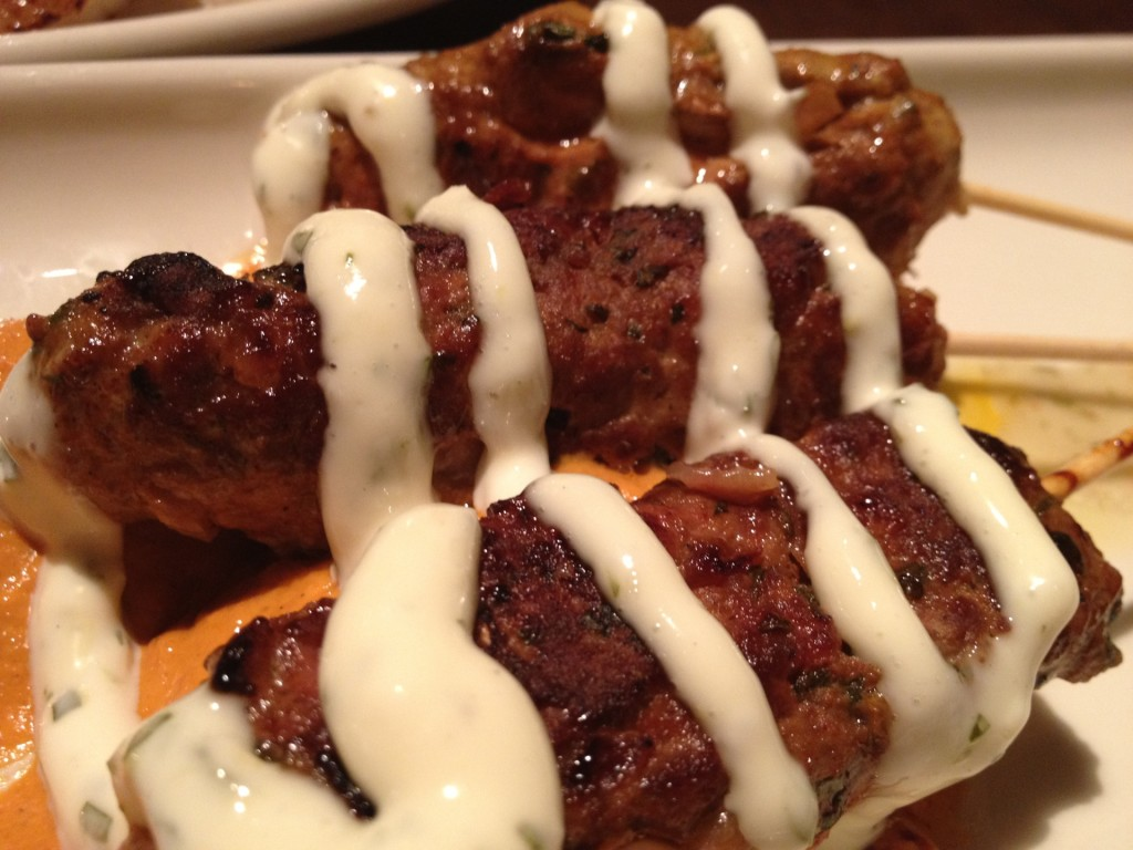Lamb Brochettes with Harissa Dipping Sauce at Blue Stove (© 2012 The Offalo)