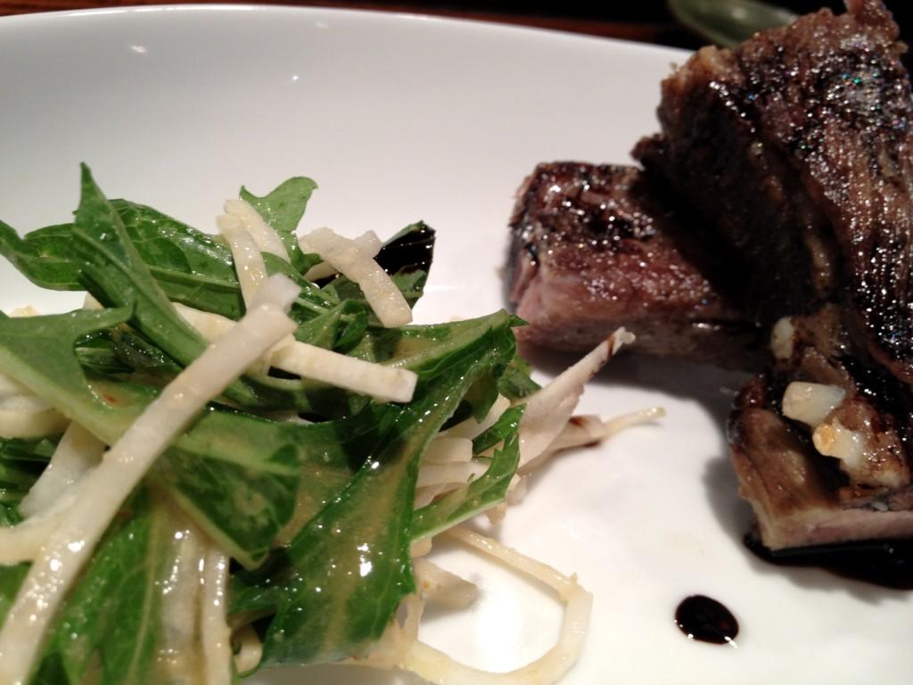 Pork Confit with Mizuna Salad at Kiriko (© 2012 The Offalo)