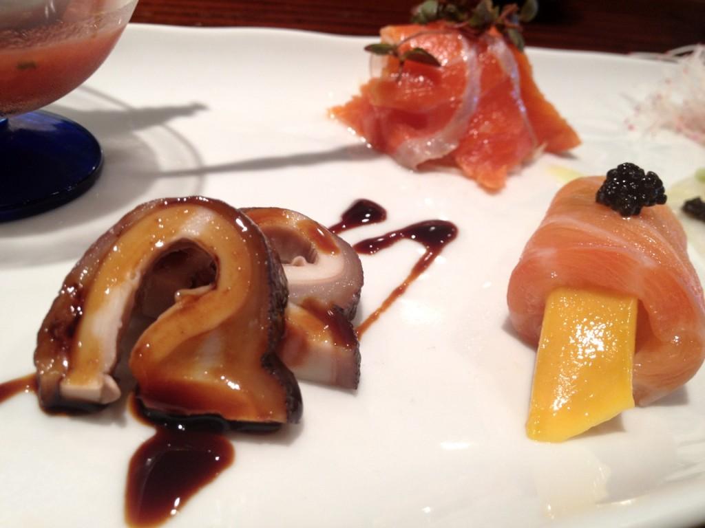Tako (Octopus), Sockeye Salmon Salad, House-Smoked Salmon-Wrapped Mango at Kiriko (© 2012 The Offalo)