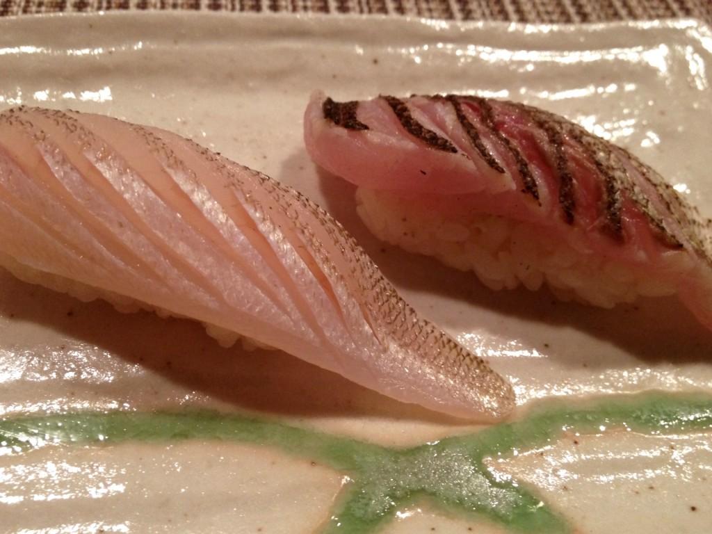 Kisu (Japanese Whiting) and Kamasu (Japanese Barracuda) at Shunji (© 2012 The Offalo)