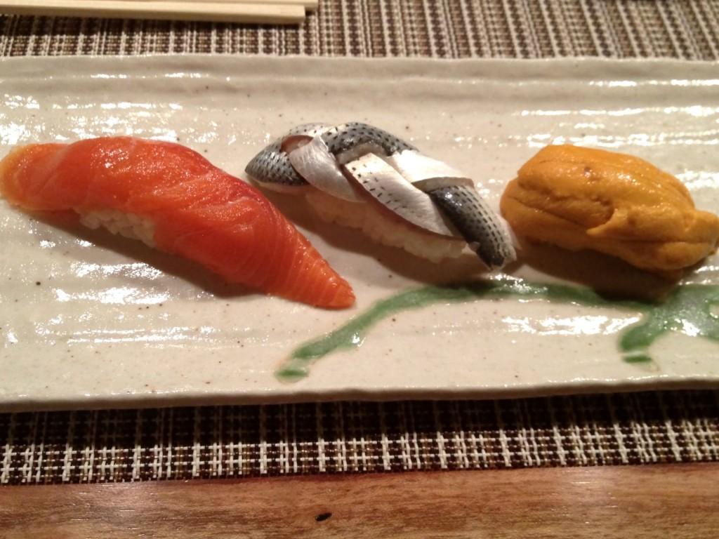 Sockeye Salmon, Kohada (Gizzard Shad), and Uni (Sea Urchin Roe) at Shunji (© 2012 The Offalo)