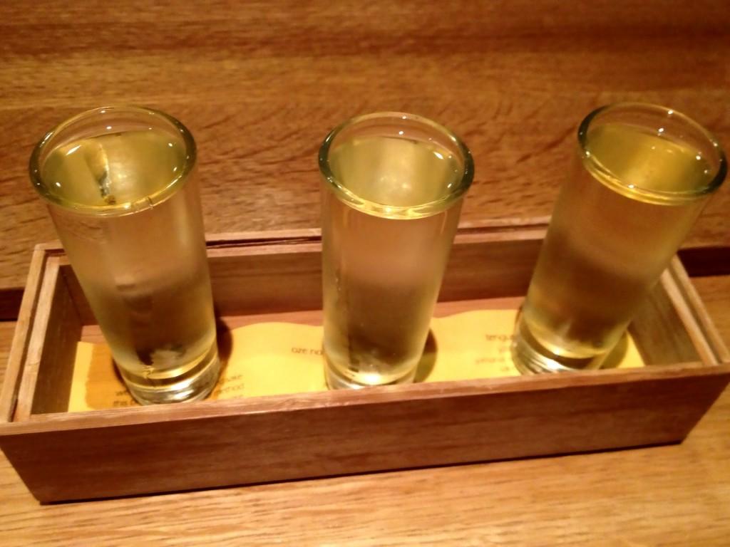 Drinkers's Flight of Three Sake @ Sushi Taro (© 2013 The Offalo)