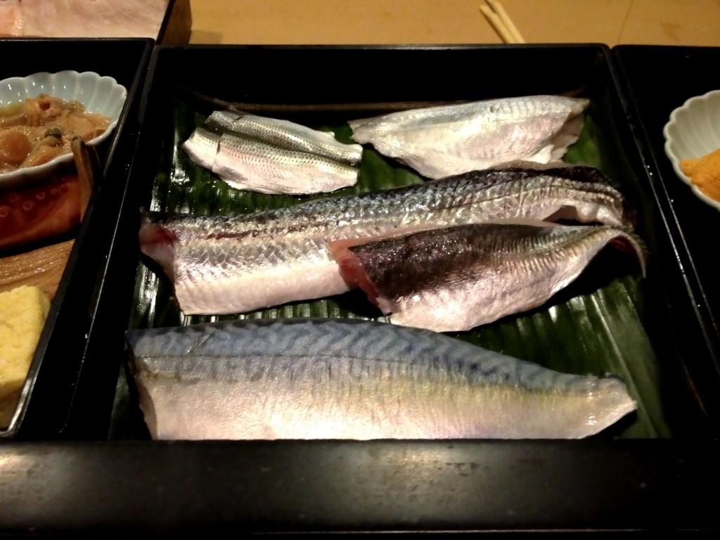 Top: Kohada (Gizzard Shad), Ebodai (Butterfish); Center:  Tobiuo (Flying Fish), Aji (Horse Mackerel); Bottom:  Saba (Atlantic Mackerel) @ Sushi Taro (© 2013 The Offalo)