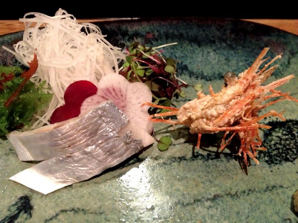 Marinated Ebodai (Butterfish) and Fried Amaebi Heads @ Sushi Taro (© 2013 The Offalo)