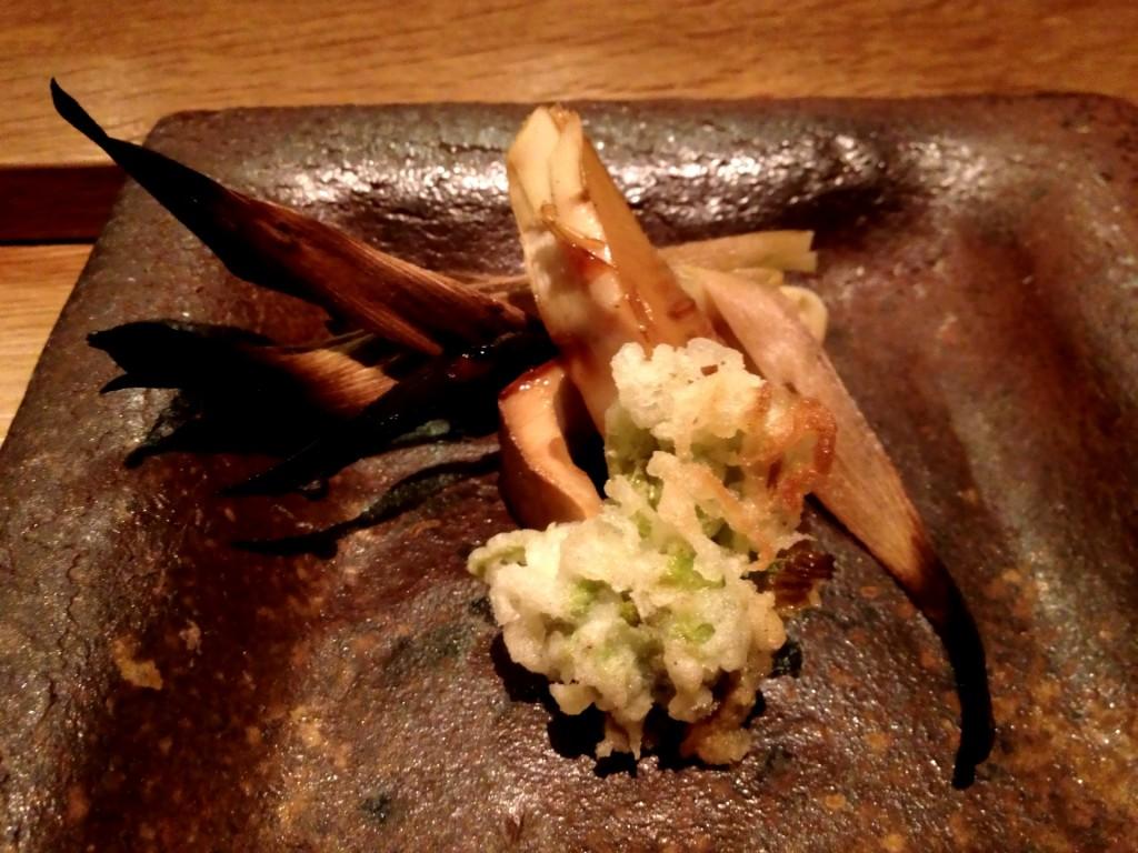 Roasted Takenoko (Bamboo Shoots) with Butterbur Blossom Tempura @ Sushi Taro (© 2013 The Offalo)