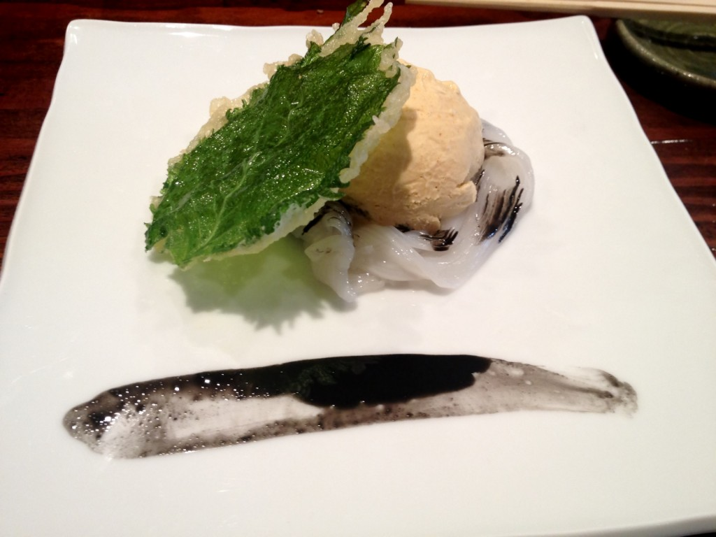 Ika Somen (Squid Noodles) w/Uni (Sea Urchin) Ice Cream @ Kiriko (© 2013 The Offalo)