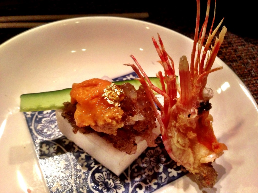 Amaebi (Sweet Shrimp Tartare) w/Truffles & Bafun Uni (Hokkaido Sea Urchin) @ Shunji (© 2013 The Offalo)