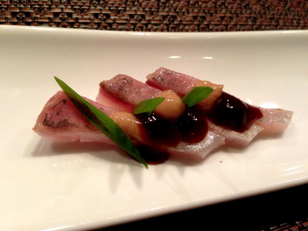 Kanpachi Sashimi w/Su-Miso & Ponzu Gelee @ Shunji (© 2013 The Offalo)