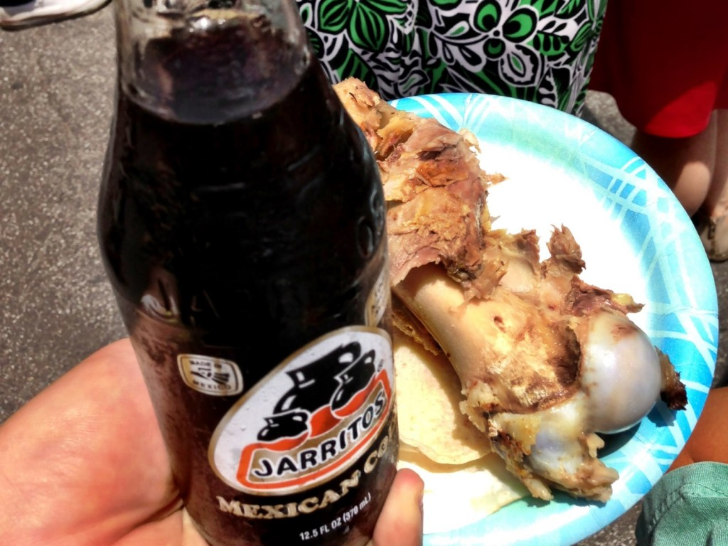 "Chichen Itza's Pork Bone ""Taco"" & Jarritos' Mexican Cola (© 2013 The Offalo)"