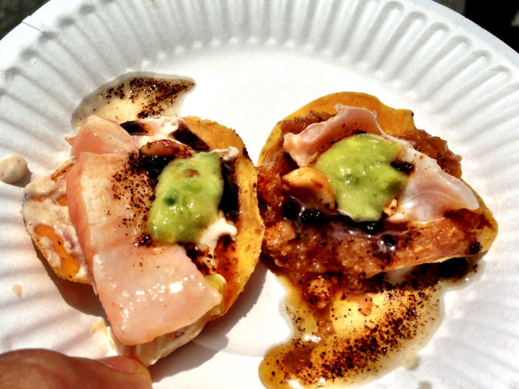 Mariscos La Guerrerense's Scallop/Fish & Clam/Sea Urchin Tostaditos (© 2013 The Offalo)