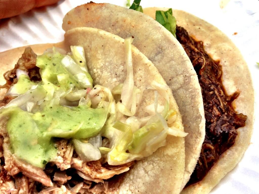 Rocio's Mole de los Dioses's Carnitas & Chicken Mole Tacos (© 2013 The Offalo)