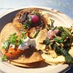 Guerrilla Tacos' Sweet Potato, Oxtail & Foie Gras, and Farmer's Market Tacos at Taco Madness 2015