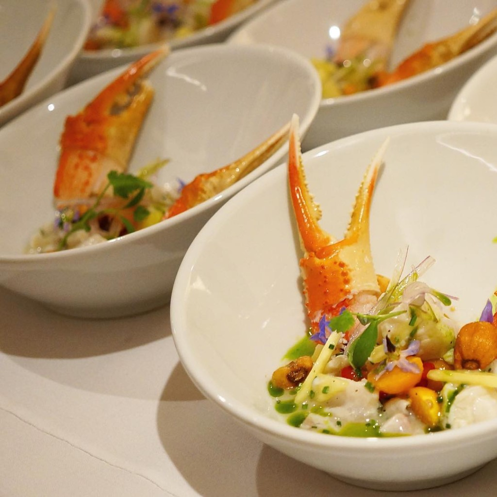 Sea Bass Ceviche With Crab Claw, Pink Lemon Leche De Tigre, Pichu Berry, Pineapple, Shallot, Fresno Chille, Chive Oil